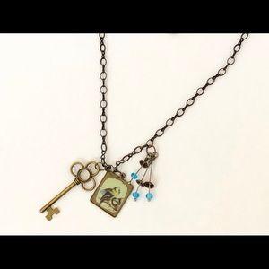 Skeleton Key Bluebird Charm Necklace